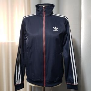 Adidas navy blue jacket with white stripes